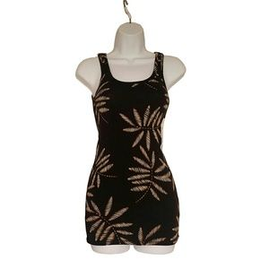 A New Day Black Tank Top with Palm Leaves